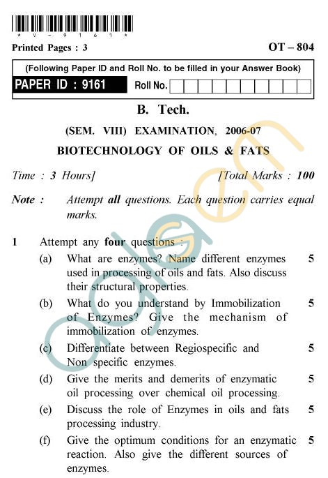 UPTU B.Tech Question Papers - OT-804 - Biotechnology of Oils & Fats