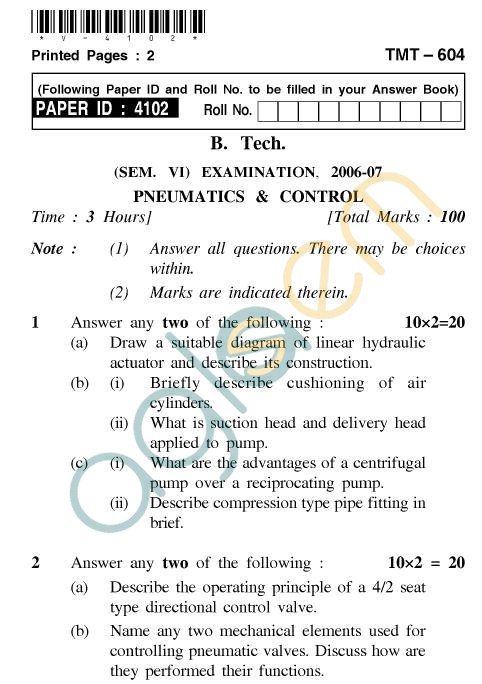 UPTU B.Tech Question Papers - TMT-604 - Pneumatics & Control