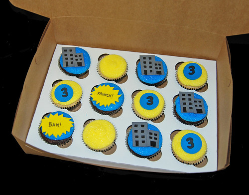 3rd birthday super hero cupcakes for a Batman celebration