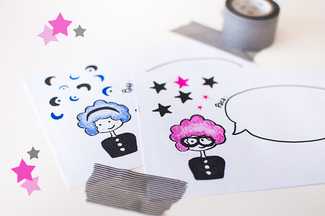 Rubber Stamps Girl & Looks in Snail Mail by papelidades