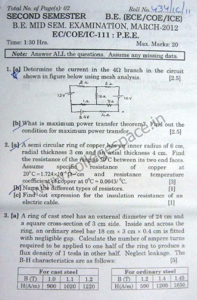 NSIT Question Papers 2012 – 2 Semester - Mid Sem - EC-COE-IC-111
