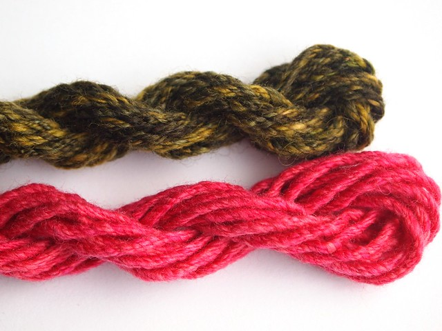 left over-green 5yds-pink 8yds-double chain plied