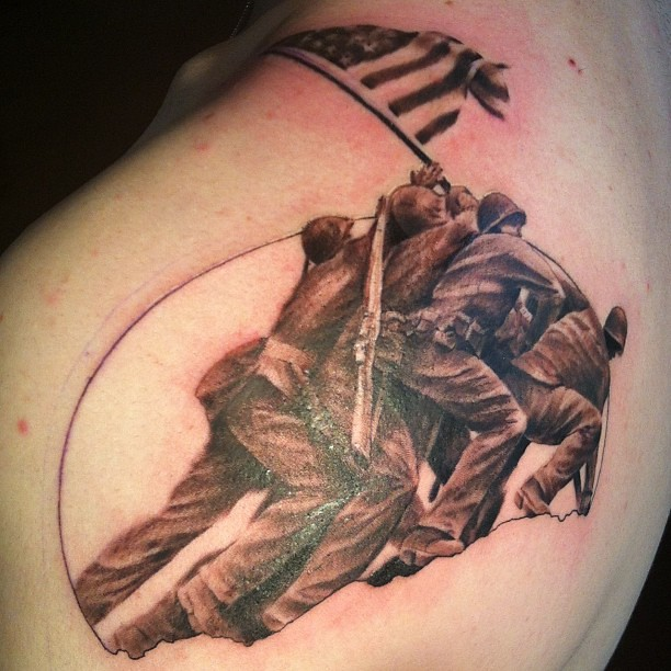 Pin iwo jima flag raising patriotic tattoo on pinterest for Iwo jima tattoo