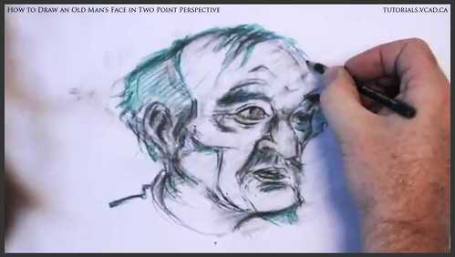 learn how to draw an old man's face in two point perspective 033