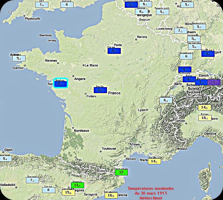 températures maximales lors de la neige à Nantes le 30 mars 1915 météopassion