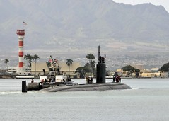 USS Charlotte (SSN 766) departs Joint Base Pearl Harbor-Hickam April 2 for a deployment to the Western Pacific region. (U.S. Navy photo by Mass Communication Specialist 2nd Class Steven Khor)