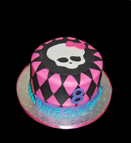 8th birthday pink black purple and turquoise girly skull cake