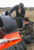 Members of the Auburn University hovercraft team, the Hovering Tigers, work on their hovercraft