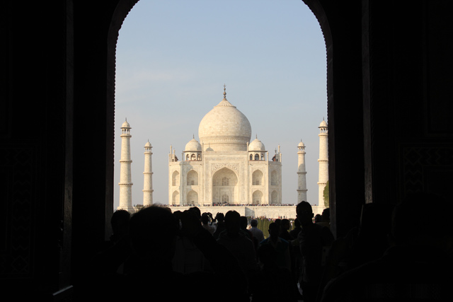 Famous view of the Taj Mahal from the gate