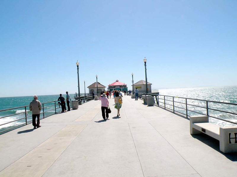 Walking along Huntington Pier