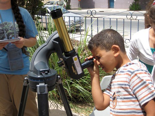 Looking at the sun through a solar scope