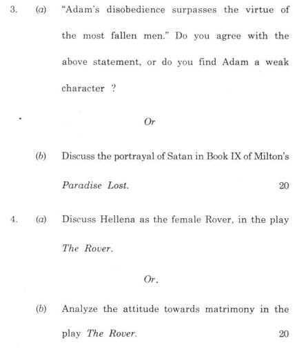 DU SOL B.A. (Hons.) ENG Question Paper - English Literature2 - Paper IV