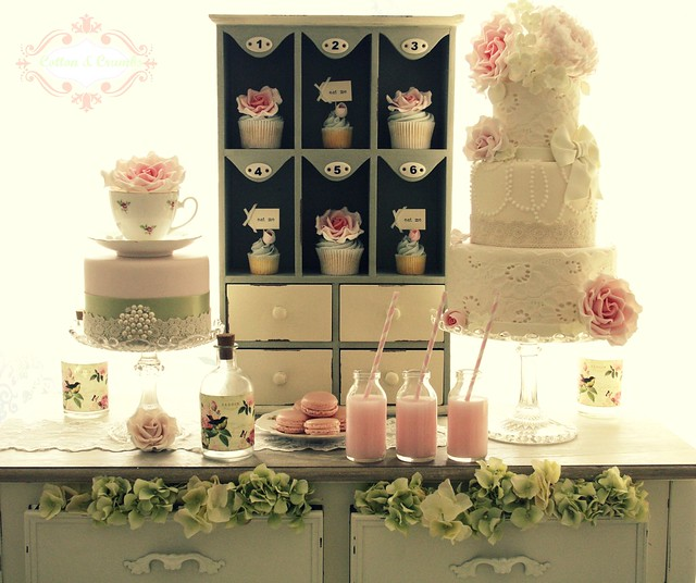 Vintage Country Garden dessert table