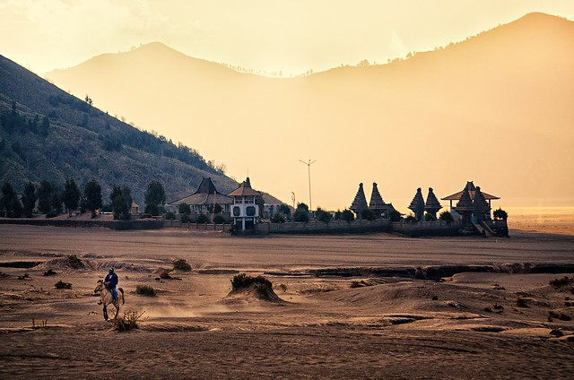 A Horseman going to the Bromo Vulcano in Indonesia