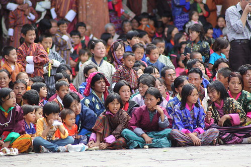 Audience at the Pholay Molay dance at Wangdue Phodrang Dzong in Bhutan