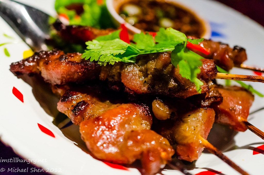 Chat Thai mhu bhing - grilled pork skewers