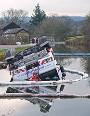 Crane in the canal at Apperley Bridge