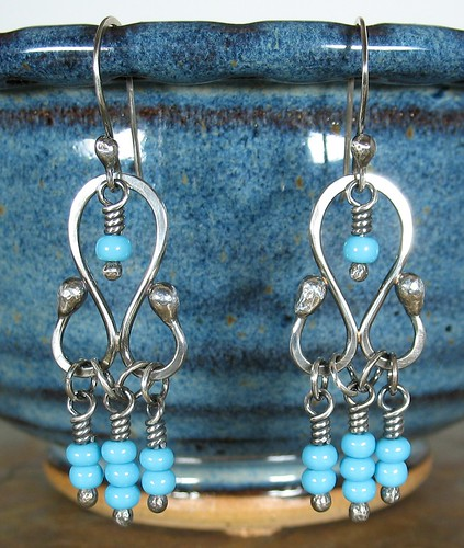 Sterling Silver Balled Headpin Chandelier Earrings