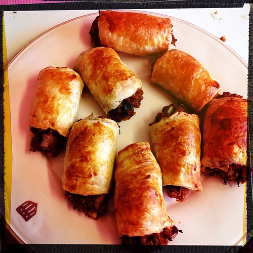 "Delicious ""vegetarian"" sausage rolls for dinner!"