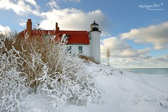 """Winters Magic"" Point Betsie Lighthouse ~ Crystalia, Michigan by Michigan Nut"