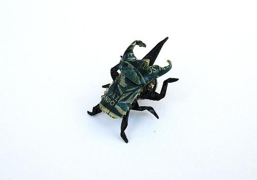 Miniature origami beetle