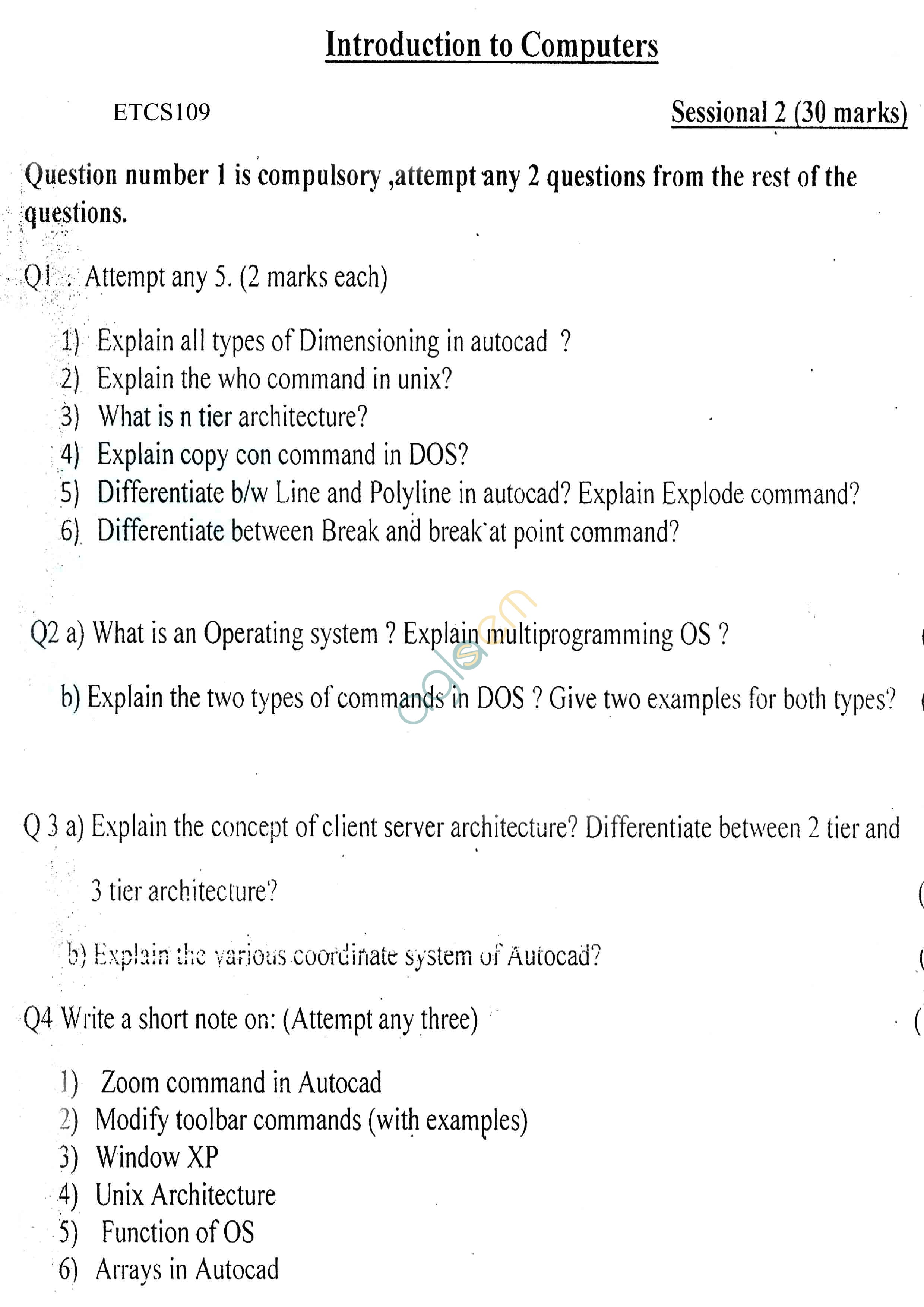 GGSIPU: Question Papers First Semester – Second Term 2012 – ETCS-109