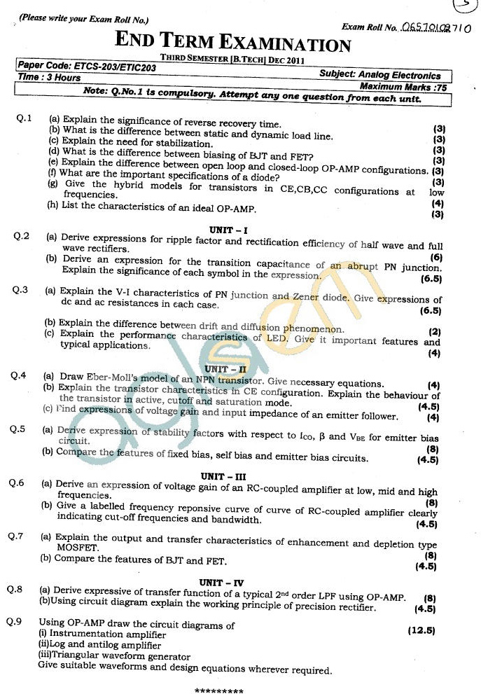 GGSIPU Question Papers Third Semester – End Term 2011 – ETCS-203