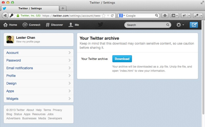 Download Twitter Archive
