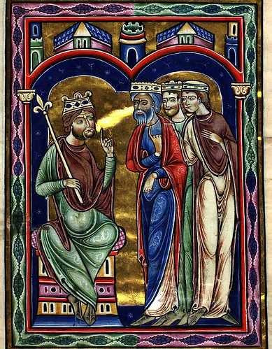005-Los reyes magos ante Herodes-10 recto-The Copenhagen Psalter- 1175-1200- Thott 143 2º-The Royal Library