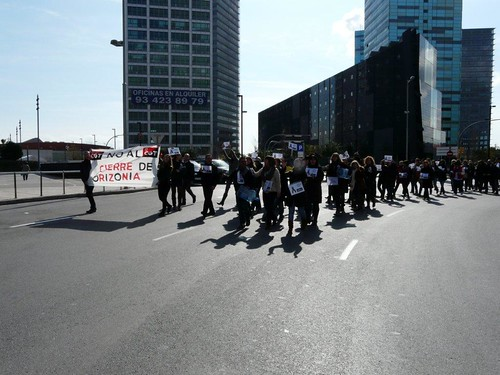 Imatge del tall de tràfic: no al tancament d´ORIZONIA 19-3-2013