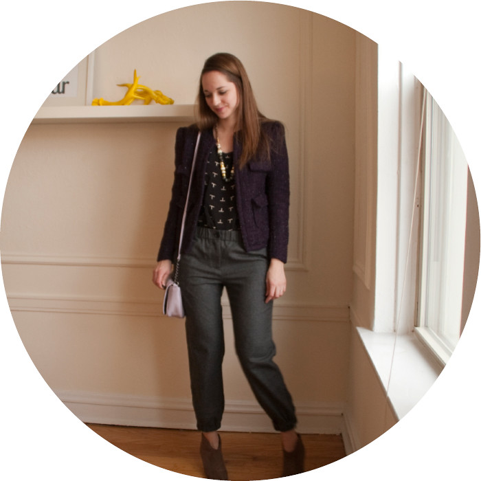 dash dot dotty, eshakti boucle jacket, purple tweed jacket, graphic tee with blazer, creative young professional, wear to work, ootd
