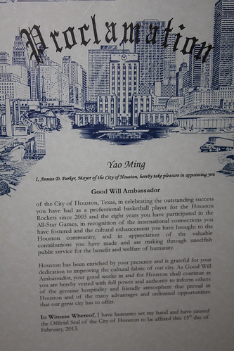 February 15th, 2013 - The City of Houston Proclamation for Yao Ming