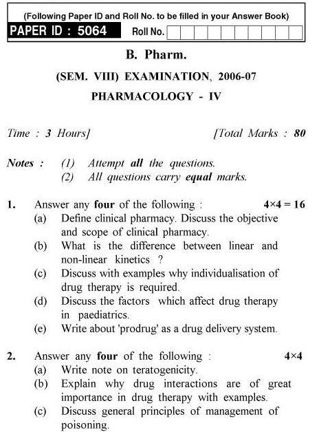 UPTU B.Pharm Question Papers PH-483 - Pharmacology-IV