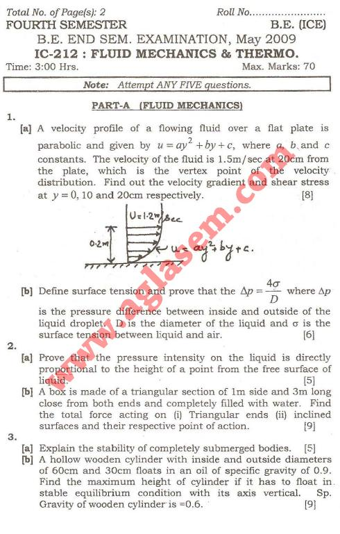 NSIT: Question Papers 2009 – 4 Semester - End Sem - IC-212