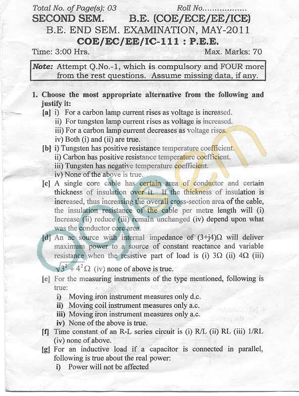 NSIT: Question Papers 2011 – 2 Semester - End Sem - COE-EC-EE-IC-111
