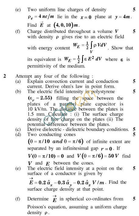 UPTU B.Tech Question Papers - TEC-401-Electromagnetic Field Theory