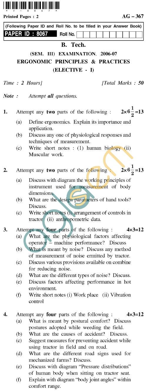 UPTU B.Tech Question Papers - AG-367 - Ergonomic Principles & Practices (Elective-I)