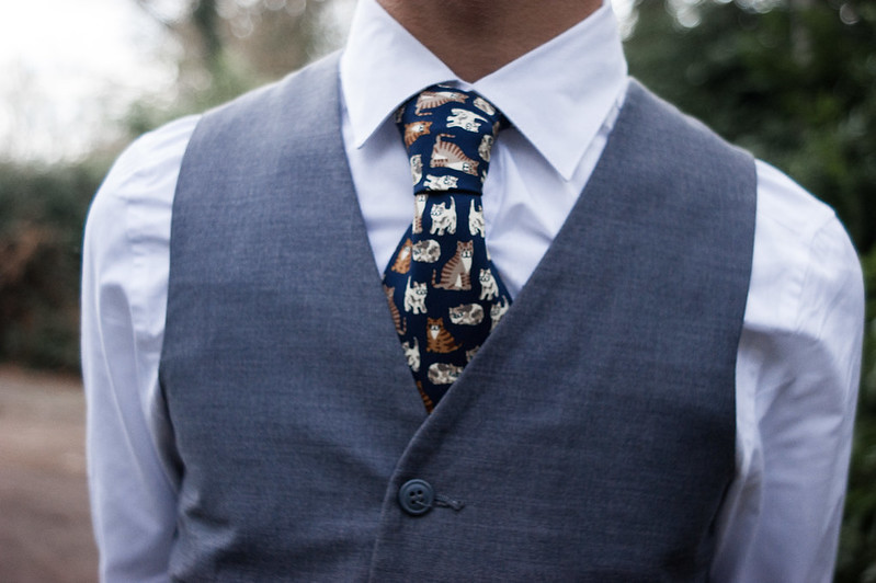 Cat print tie