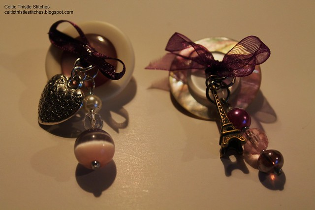 Purple button brooches