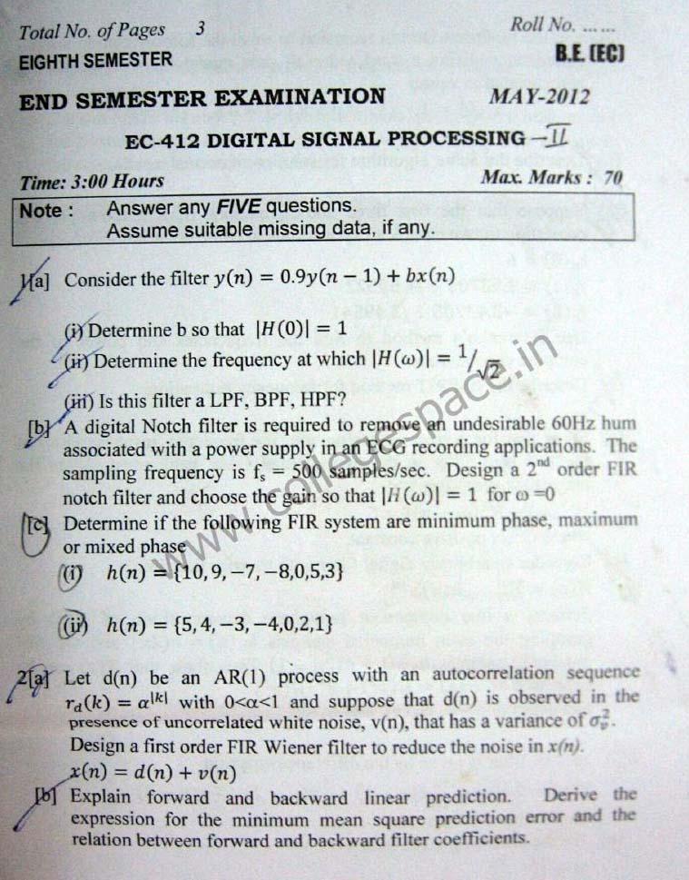 NSIT Question Papers 2012 – 8 Semester - End Sem - EC-412