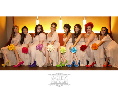 The colorful bridesmaids
