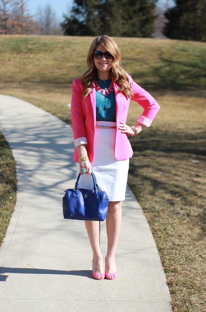 pink blazer work outfit