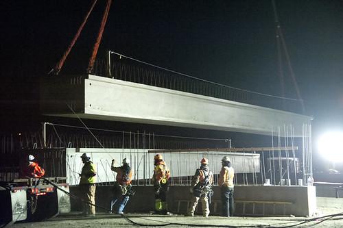Photo of girder placement on 38th Avenue commuter rail bridge