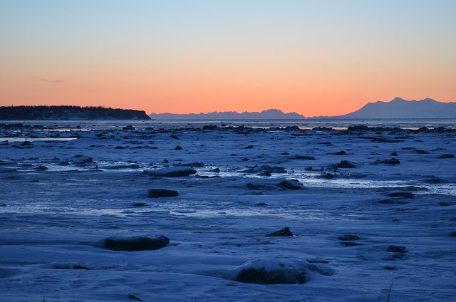 Looking west over Cook Inlet after sunset
