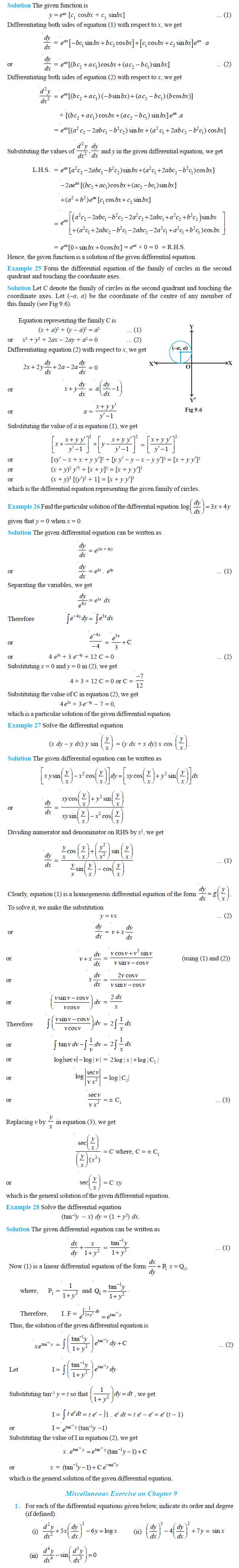 NCERT Class XII Maths Chapter 9 - Differential Equations