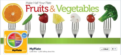 Facebook page by Sasha Bard, MS, RD. Interest in the MyPlate Facebook page grew rapidly with more than 1,000 followers on the first day. Facebook page by Sasha Bard, MS, RD.