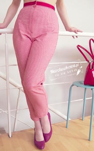 marchewkowa, szycie, krawiectwo, blog, wykrój, model, capri pants, spodnie, pepitka, trykot, bawełna, tasiemka rypsowa, podłożenie spodni, pedal pushers, Burda 6/11, #123, 50s, retro, vintage