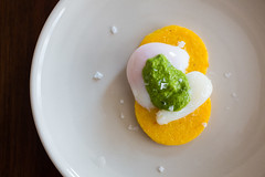 Pan Fried Polenta with Poached Egg and Spinach Pes…