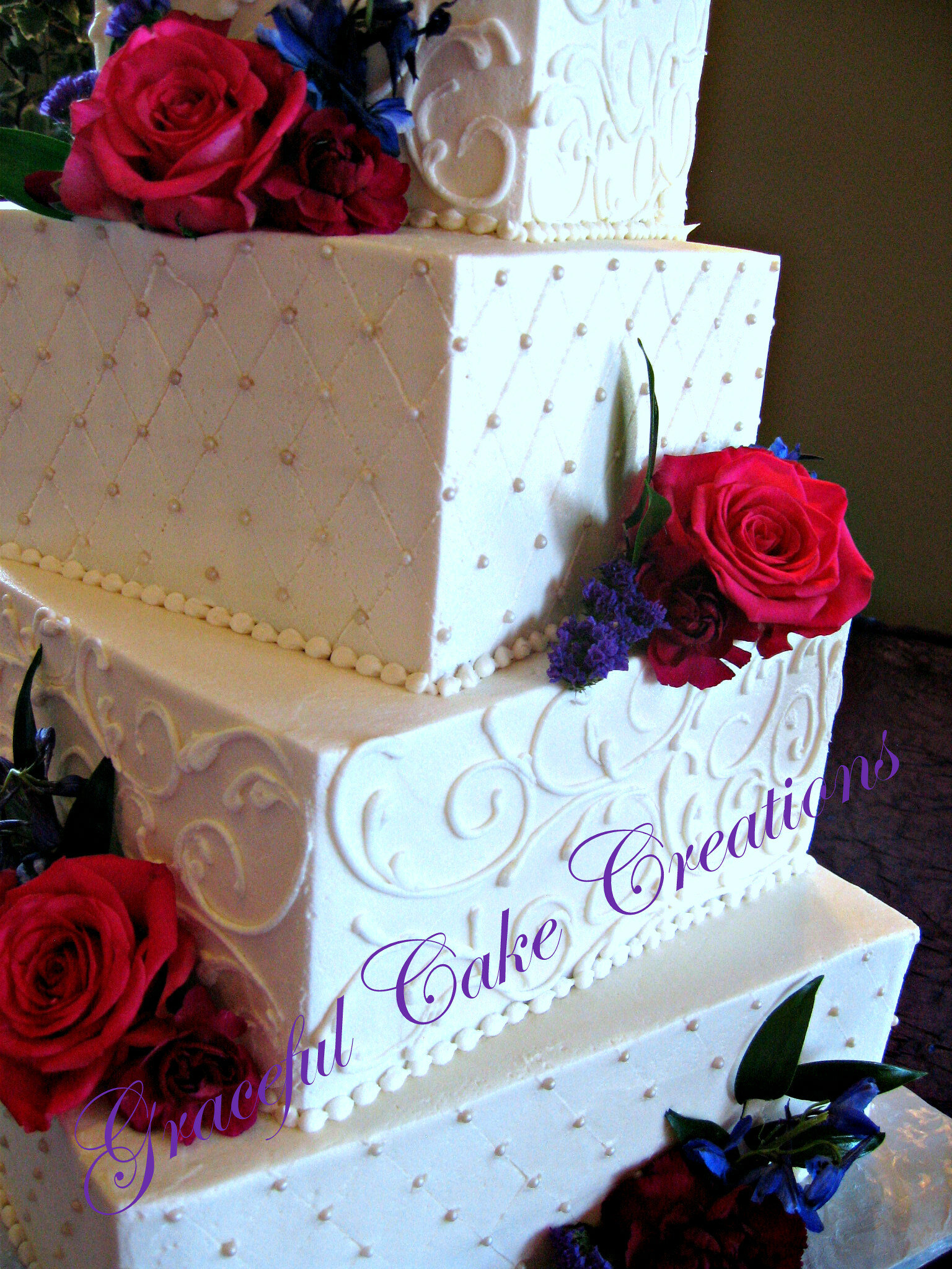 Elegant Square Ivory Buttercream Wedding Cake