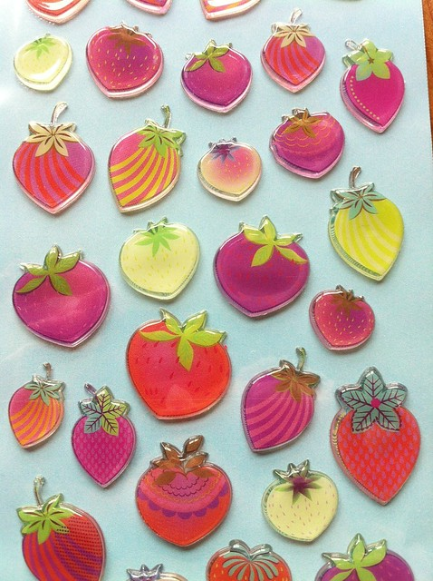 Paperchase strawberry stickers